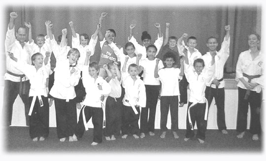 Goyararu Martial Arts - Junior class following the Tag Test in October 2006